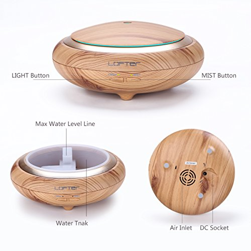 150ml Oil Diffuser , Portable Wood Grain Aromatherapy Essential Oil Diffuser Ultrasonic Cool Mist Humidifier - LED Lights Changing - Waterless Auto Shut-off for Office Home Bedroom Baby Room Yoga Spa
