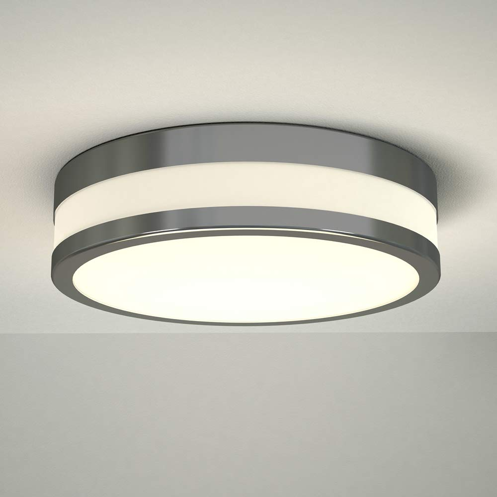 Milano Enns 12W LED Round Chrome Bathroom Ceiling Bulkhead Light - IP44 Waterproof - Warm White (3000K) with Frosted Opal Glass Diffuser