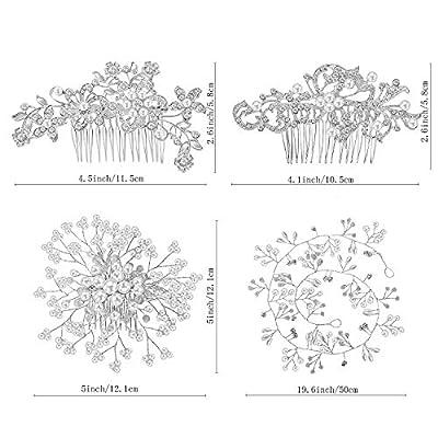 44 Pieces Wedding Hair Comb Faux Pearl Crystal Bride Hair Accessories Hair Side Comb Clips U-shaped Flower Rhinestone Pearl Hair Clips for Bride Bridesmaid
