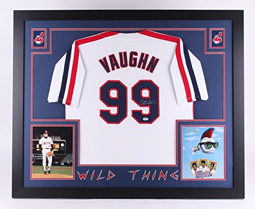 Charlie Sheen Rick Vaughn Major League Cleveland Indians Signed Autograph Custom Framed Jersey WILD THING PSA/DNA Certified
