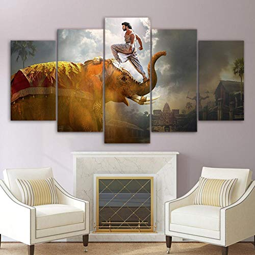 qingyuge 5 Panels Canvas Wall Art Popular Canvas Picture Modern 5 Pieces India Elephant Hd Printed Living Room Wall Art Painting Home Decor Movie Poster
