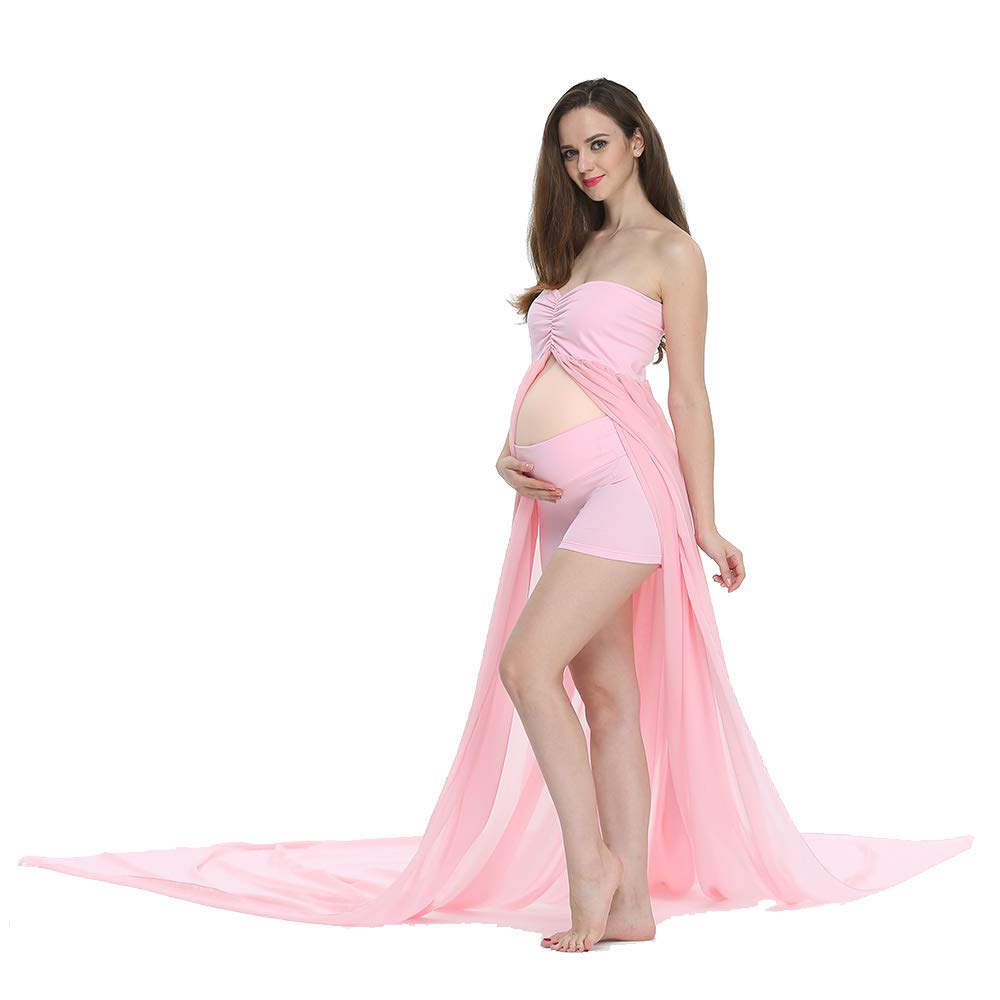D&J Sexy Maternity Dress Chiffon Off Shoulder Front Split Pregnancy Gown Maxi Photography Dress