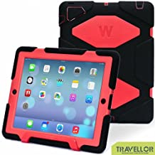 Shockproof Waterproof Kids Proof Protective Survivor Defender Case Cover with Stand for Ipad 4 3 2 Black Red
