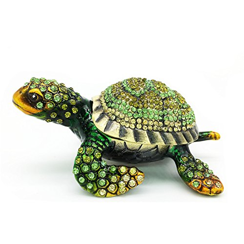 Waltz&F Diamond turtles Hinged Trinket Box Hand-painted Animal Figurine Collectible (green) Collectible Hand Painted Figurine
