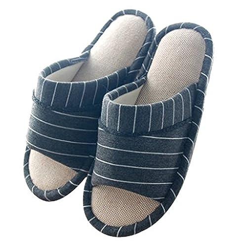 Mens Stripes Open Toe Slippers House Slippers On Sale Sylviemasseca