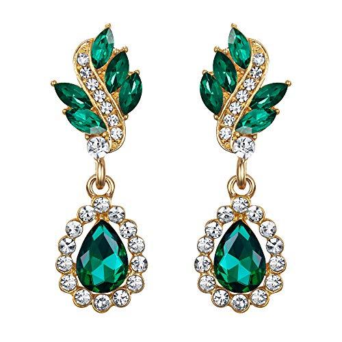 EleQueen Women's Austrian Crystal Art Deco Tear Drop Dangle Earrings Clip-on Gold-tone Emerald Color - Gold Tone Crystal Clip Earrings