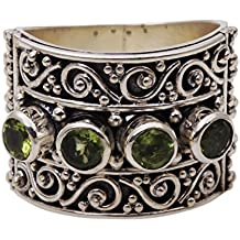 NOVICA Peridot 925 Sterling Silver Cocktail Ring, Lucky Four'