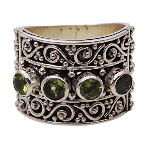 NOVICA Peridot .925 Sterling Silver Spiral Motif Gemstone Cocktail Ring, Lucky - Green Ring Novica