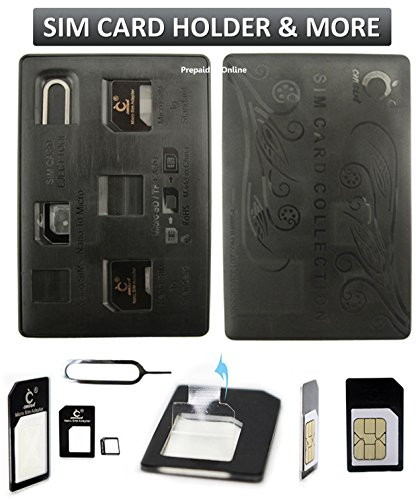 (SIM Card Holder Case, Credit Card Style slim & compact for wallet with Micro Nano Sim Card Adapter & Pin Tool, Holds 4 SIM Cards & 1 MicroSD/TF Memory Card)