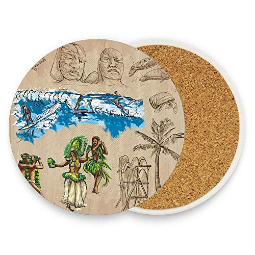 Hand Drawn Tiki Dancers Surfing Sharks Turtles Tropic Inspirations Retro Coaster for Drinks Absorbent Stone Coaster, Cups Holder Coffee Mug Cup Mat Pack Of 1