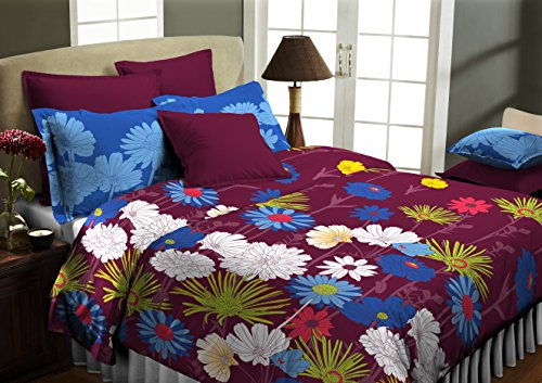 Superspun Estado Floral Polycotton Double Bedsheet with 2 Pillow Covers – Rosewood