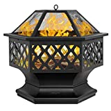 """Bonnlo 24-Inch Outdoor Fire Pit with Mesh Screen and Poker Hex Shaped Metal Wood Burning Bonfire Pit for Outdoor Camping Patio Backyard Garden - 8""""Deep Bowl"""