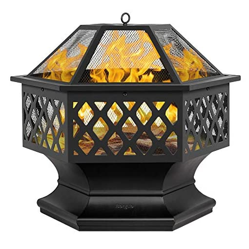"""Fire Pits Bonnlo Fire Pit Outdoor Wood Burning Firepit 24"""" Metal Hex Shaped with Mesh Screen and Poker for Camping Patio Backyard… firepits"""