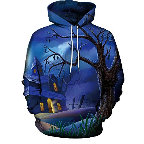 ZJSWCP Sweatshirt Women Mode 3D Print Long Sleeve Halloween Hoodies Top Blouse Shirts Pullover Moletom Tumblr Tomorrowland 30,XXL -