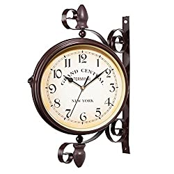 Taimot Double Sided Wall Clock European Style Vintage-Inspired Creative Fashion Clock Classical Wrought Iron Round Clock with Scroll Wall Side Mount Home Décor, for Living Rooms, Porch
