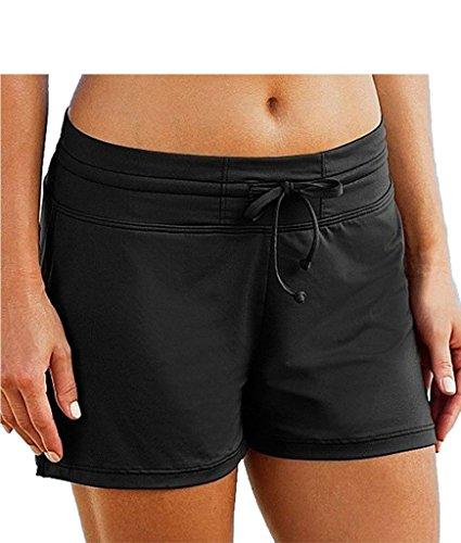 DUSISHIDAN Womens Solid Black Boardshorts Swim Bottom Board Shorts