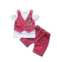 cf02aa9d52c1 Qlan Baby Boy vestiti abiti Sets bambini Baby Boy Abbigliamento Gentleman  Suit Top e Plaid pantalone corto vestito  Amazon.it  Abbigliamento