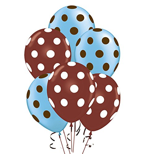 Polka Dot Balloons 11in Premium Brown and Baby Blue with All-Over print White and Brown Polka Dots Pkg/50
