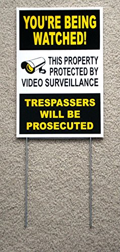 1Pc Massive Unique You're Being Watched Yard Sign Surveillance Anti-Robber Anti-Burglar House Trespassing Fence Property Stakes Decor Business Security Premises Hour Post Signs Size 8'x12' w/ Stake