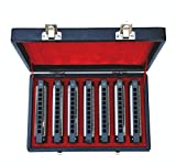 Swan 10 Holes Blues Power Harmonica Blues Harp Harmonica Set 7 Keys In Gift Box (A B C D E F G)