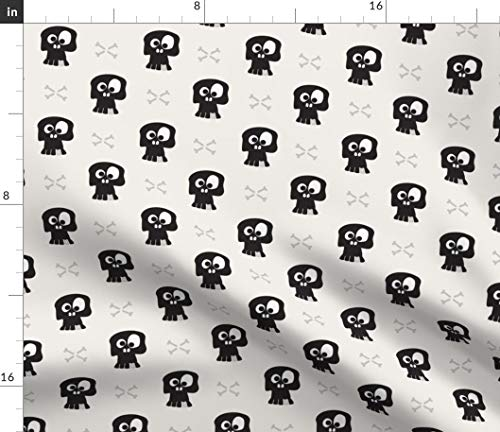 (Skull Fabric - Skull Halloween Black and White Bones Quilting Pirate Skull Black and White Boys Pattern Tooth by Kaicopenhagen Printed on Eco Canvas Fabric by The)