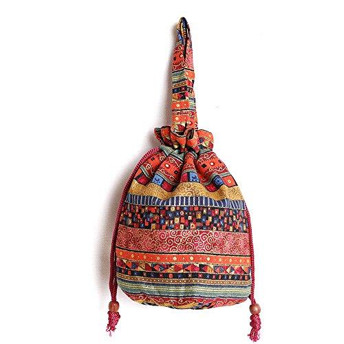 Bucket Mini Travel 257 Cotton Drawstring Stylish Shoulder Cfz Women Fabrics Hobo Multicolored Bag Bag Zzw4vYx