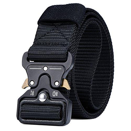 Military Tactical Belt,Quick Release Buckle, Long 43''-55'' Wide1.5'',Heavy Duty Waist Belt (Black, 47 inch) by MarkPorda
