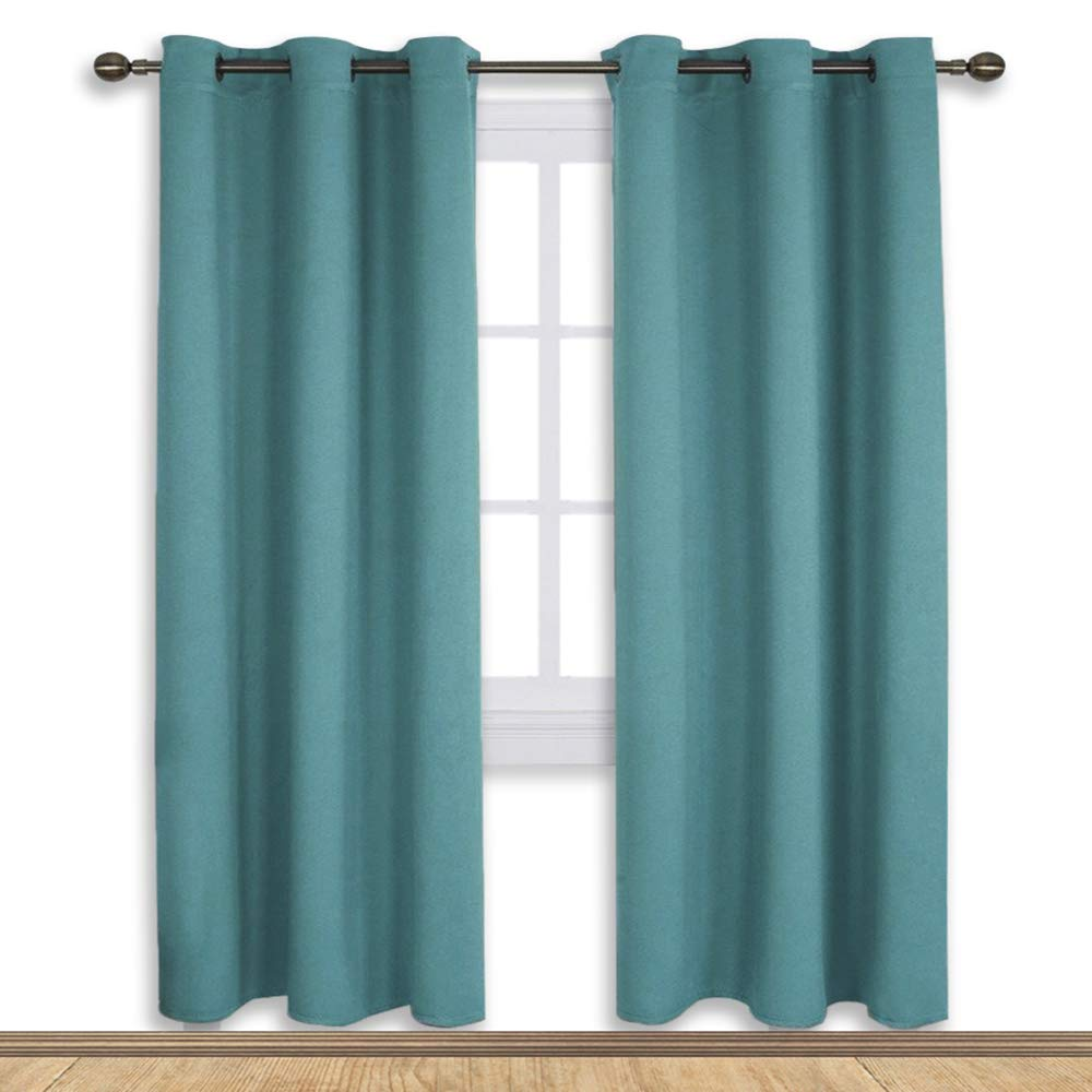 NICETOWN Living Room Blackout Window Curtains, Thermal Insulated Solid Grommet Blackout Drapery Panels (Sea Teal,One Pair,42 by 72-Inch)