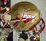 This Florida State Seminoles Full Size Authentic Game Model Football helmet has been hand signed by Coach Bobby Bowden and Coach Jimbo Fisher Charlie Ward, Chris Weinke and Jameis Winston. This Riddell authentic on-field helmet will include a...