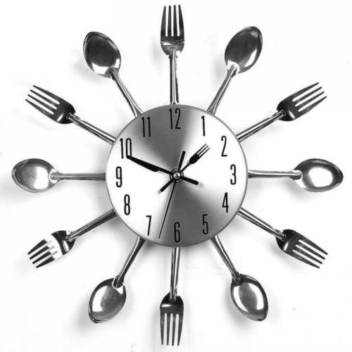 Airinstore Modern Style Wall Clock Watch Silver kitchen spoon folk decoration item