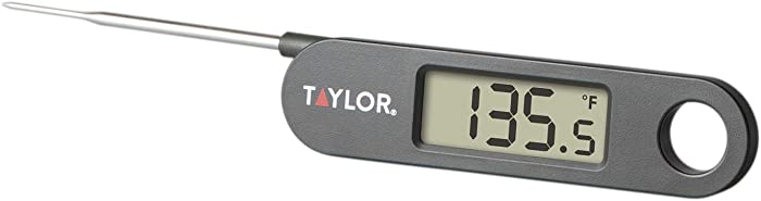 Taylor Precision Products 1476 Folding Stem Digital Display Food Thermometer, One Size, Black
