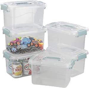 Inhouse 5 L Plastic Storage Bins Set, Storage Latching Box with Lids, Set of 6