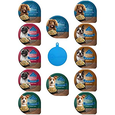 Blue Buffalo Divine Delights Dog Food in 4 Flavors - New York Strip, Rotisserie Chicken, Prime Rib, and Filet Mignon (3.5 Ounces Each, 12 Cups Total) Plus Silicone Dog Food Can Cover - 13 Items Total
