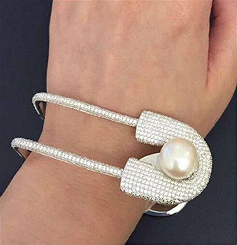 (P.phoebus 18K White Gold Plated Bangle Bracelet Vintage Pearl Swarovski Crystal Rhinestone Charms Pendant for Women Girls (4))