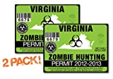 Virginia-ZOMBIE HUNTING PERMIT TAG-2 PACK-DECAL STICKER-LICENSE-2012/2013-VA