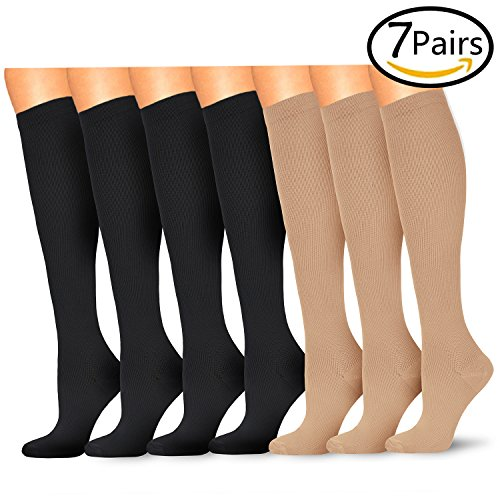 7 Pairs Compression Socks For Women and Men - Best For Running, Athletic Sports, Crossfit, Flight Travel - Nurses, Maternity Pregnancy, Shin Splints - 15-20mmHg Below Knee High(Small/Medium, Assort - Run Fun Nude