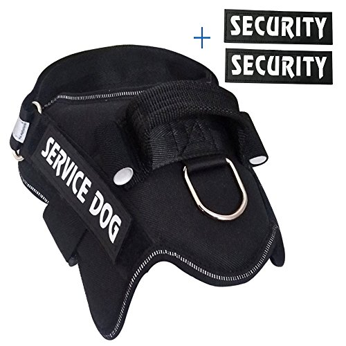 (MS KeKe Dog Harness Vest with Two Pairs of Patches Service Dog and Security, No Pull Dog Harness-Classic Black (L))
