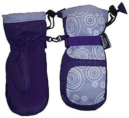 N\'ice Caps Girls Thinsulate Waterproof Circle Scroll Print Mitten (6-8yrs, purple/lavender/white)