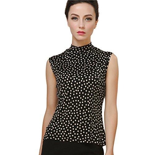 LoveSilk Women's 100% Silk Knitted Mock Neck Sleeveless Tank Polka Dots Size S