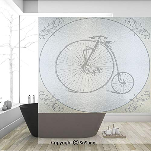 (3D Decorative Privacy Window Films,Retro Big and Small Tired Bicycle on A Vintage Round Framed Floral Background Boho,No-Glue Self Static Cling Glass film for Home Bedroom Bathroom Kitchen Office 36x3)