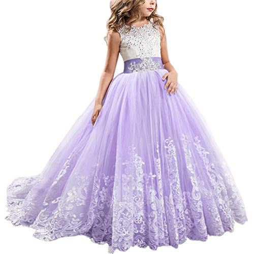 FYMNSI Flowers Girls Applique Tulle Lace Wedding Dress First Communion Birthday Christmas Prom Ball Gown Lavender 10-11T