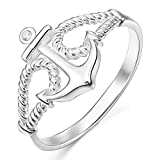 INBLUE Women's 925 Sterling Silver 13mm Ring CZ Silver Tone Rope Anchor Nautical Size8