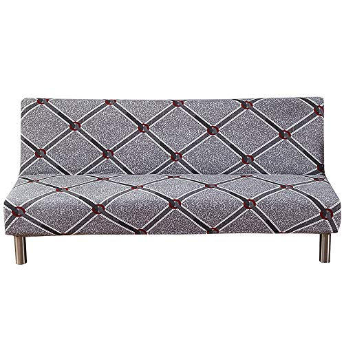 MIFXIN Armless Sofa Cover Stretch Sofa Bed Slipcover Futon Sofa Cover Non-Slip Settee Folding Couch Protector Without Armrests Lightweight Stretch Furniture Protector (Flower 03) (Bed Sofa Settee)