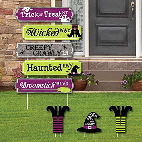 Happy Halloween Street Sign Cutouts - Witch Party Yard Signs & Decorations - Set of 8 -