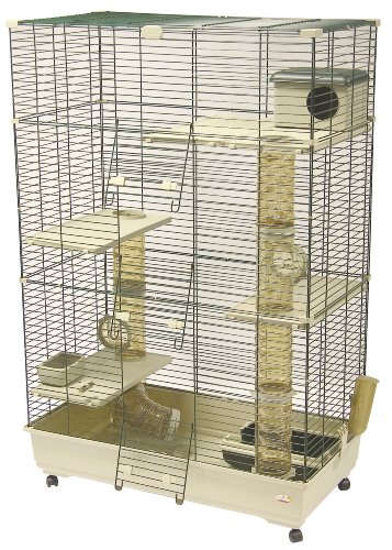 Marchioro Wheel - Marchioro Sara 102 C3 Cage for Small Animals with Wheels, 40.25 inches, Beige/Green
