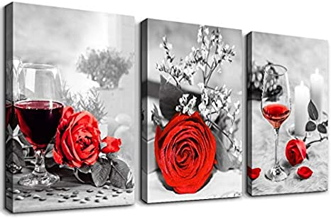Amazon Com Black And White Red Wine Watercolor Painting Canvas Wall Art For Kitchen 3 Piece Decor Dining Room Restaurant Decorations Roses Flowers Prints Home Decoration Poster Artwork Posters