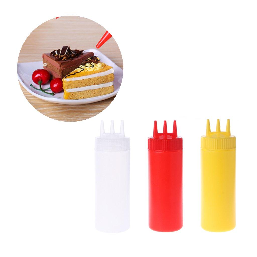 Milue 3 Hole Squeeze Bottle Condiment Dispenser Sauce Vinegar Oil Ketchup Cruet Bin (White) by Milue (Image #4)