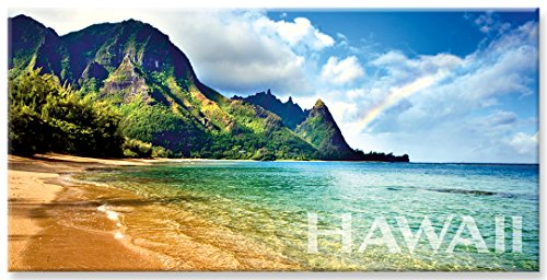 Panoramic Hawaiian Art Collectible Refrigerator Magnet - Rainbow Bali Hai by Monica & Michael - Magnet Fridge Collectible