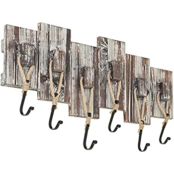 MyGift Nautical-Style Wall-Mounted Torched Wood Coat Rack with 6 Rope Hooks