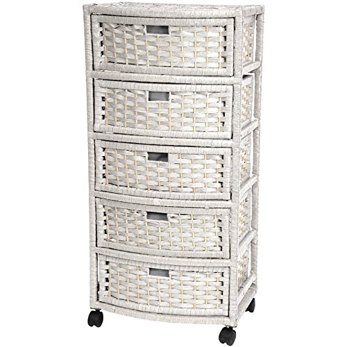 Oriental Furniture 37'' Natural Fiber Chest of Drawers - White by ORIENTAL Furniture